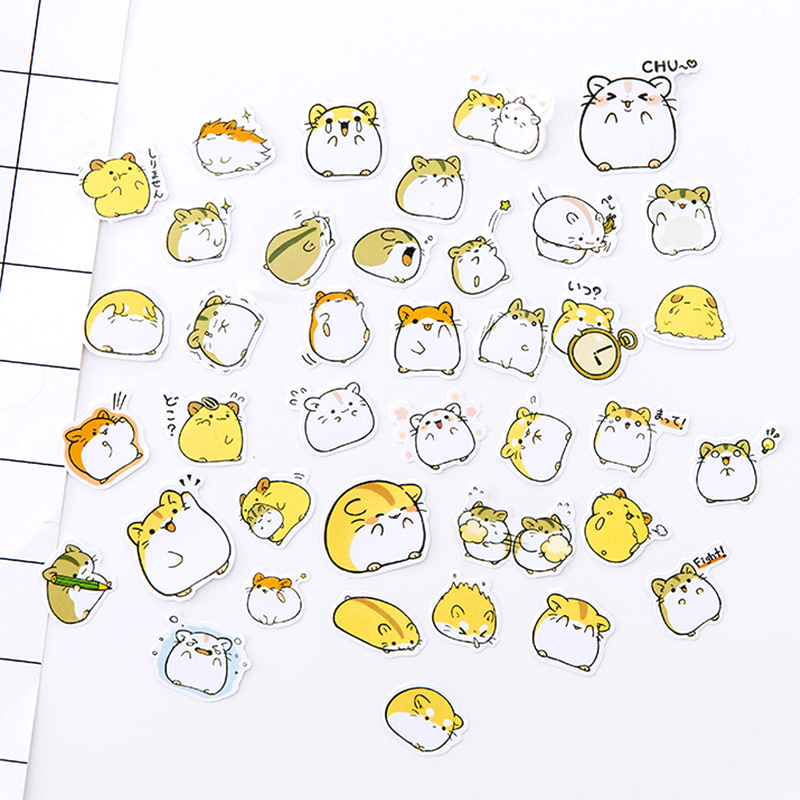 Cartoon Hamster Washi Stickers Cute Decoration DIY Diary Scrapbooking Label Sticker Stationery Gift School Supplies