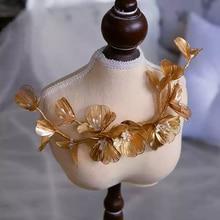 Muhteşem altın taklidi düğün tokalarım yumuşak gelin Hairbands düğün saç aksesuarı balo Headdress