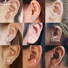 Mini Vintage Geometrische Ohrringe Schmuck für Frauen Welle Runde Blatt Gestüt Ohrringe Mode Einfachen Sterne Ohr Kletterer Geburtstag Geschenke