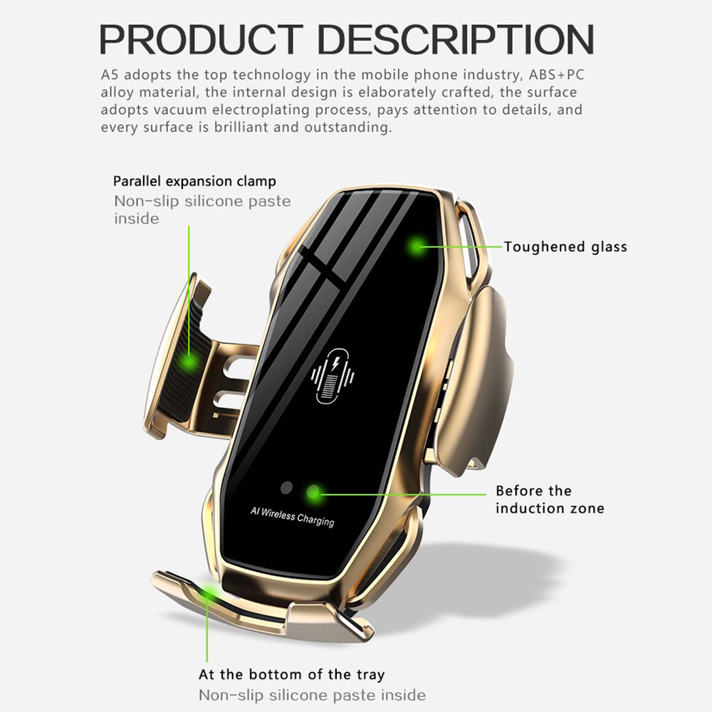 Image 5 - 10W Automatic Clamping Wireless Charger Car Phone Holder For  Samsaung Fast Wireless Charging For iPhone X 8 Qi Wireless  ChargerWireless Chargers