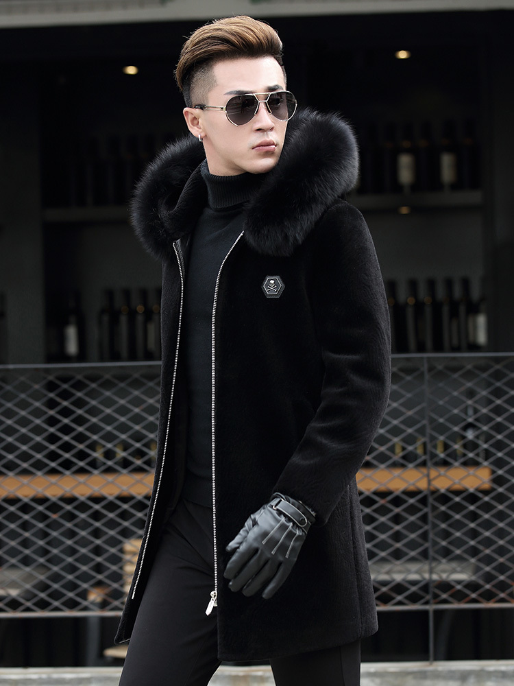 Autumn Winter Jacket Men Sheep Shearling Fur Coat Mens Fox Fur Collar Wool Jackets Chaqueta Hombre S-7106-2 MY1294