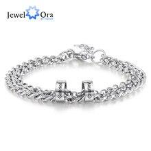 JewelOra-pulsera de cuentas de acero inoxidable para hombre, brazalete personalizado con grabado de nombre, cadena ajustable, joyería para padre