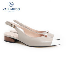 Vair mudo mulher bombas sapatos mary janes salto baixo couro genuíno apontou toe fivela cinta rasa doce elegante cinza sandálias d28