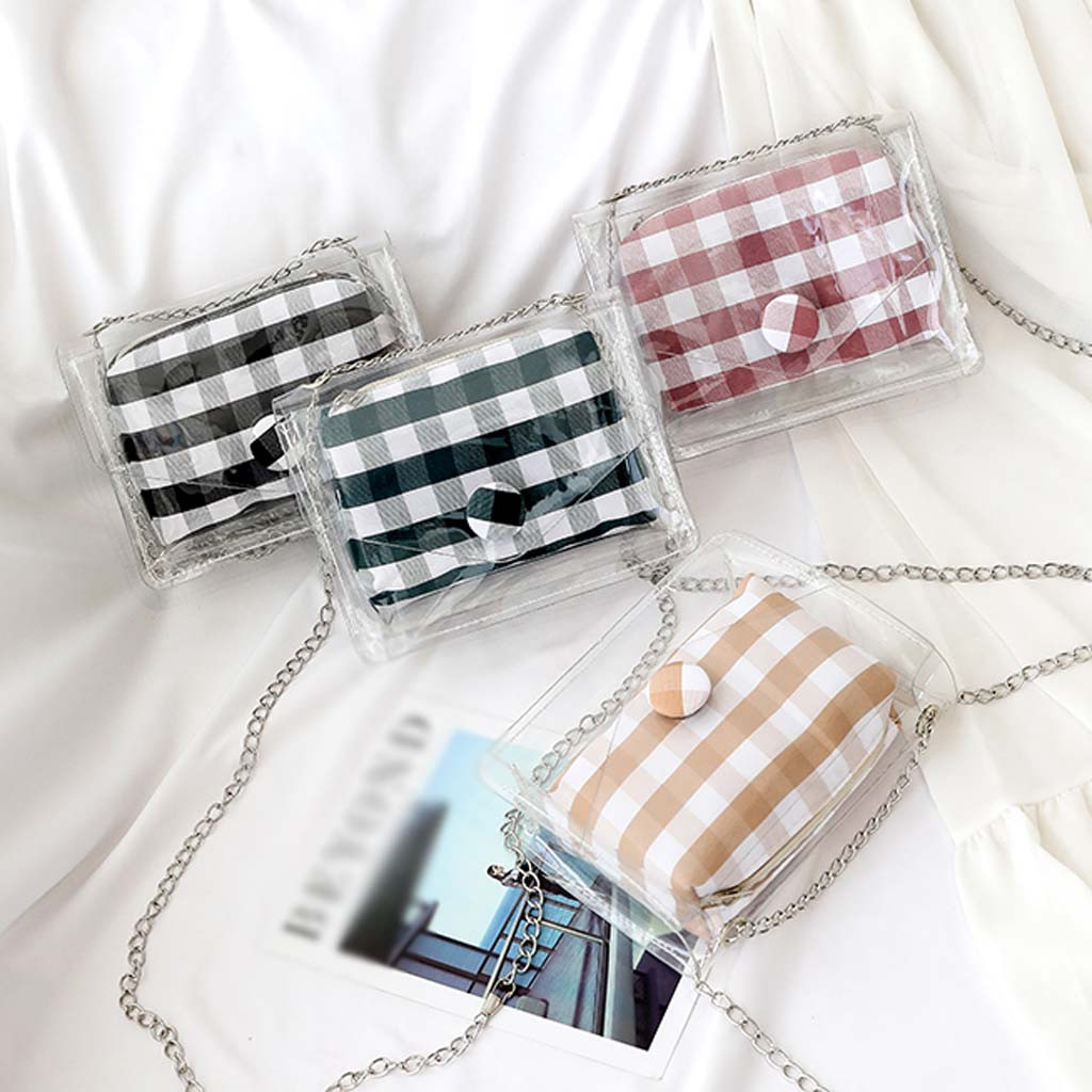 Handbag Phone-Bags Jelly Wide-Straps Clear Plaid Transparent Women Small Bolsa-Feminina