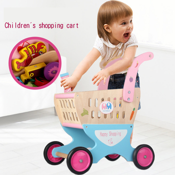 Baby Girl Pretend Play Simulation Shopping Cart Trolley Cutting Fruit Vegetable Food Wooden Toys Kitchen Set for Kids toddler walker baby boy and girl pretend play simulation shopping cart trolley wooden early education toy for kids birthday gift