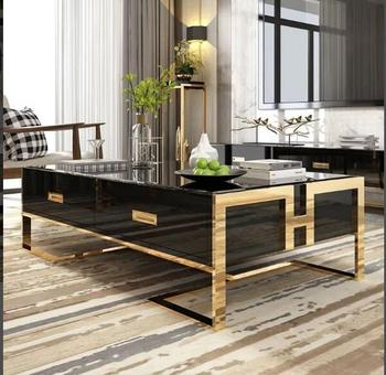Simple light luxury post-modern coffee table small apartment living room tea table four drawer tempered glass creative TV cabine mc2102b modern living room furniture marble top tea table coffee table with drawer