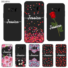 Lipstick lips Custom Your Name DIY Black Soft TPU Silicon Case Cover For Samsung Galaxy S5 S6 S7 S8 S9 S10 S10E Lite Edge Plus