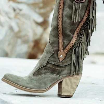 Retro 2019 vrouwen Etnische Stijl Mid Hoge Hakken Stijlvolle Warm Bont Laarzen Lage Hak Suède Laarzen Lange Fringe Winter geborduurd Boot
