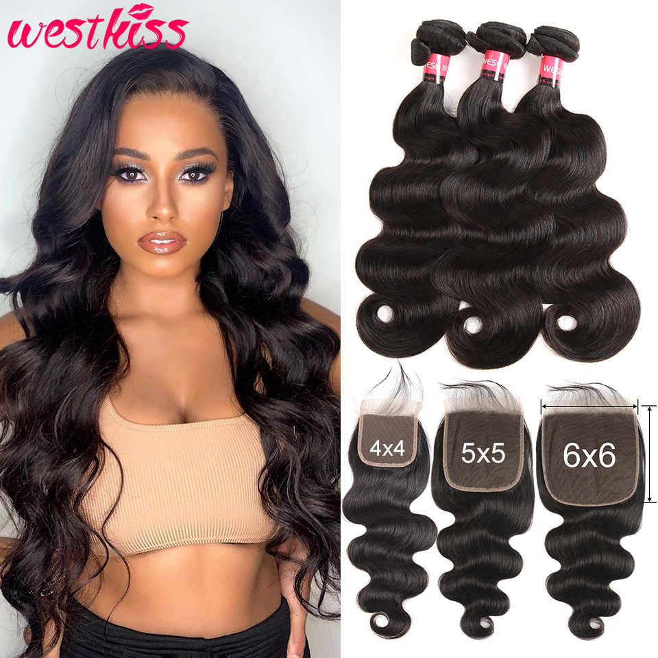 5x5 Closure With Bundles Brazilian Body Wave Bundles With Closure 100% Human Hair Pre plucked With Baby Hair West Kiss Remy Hair
