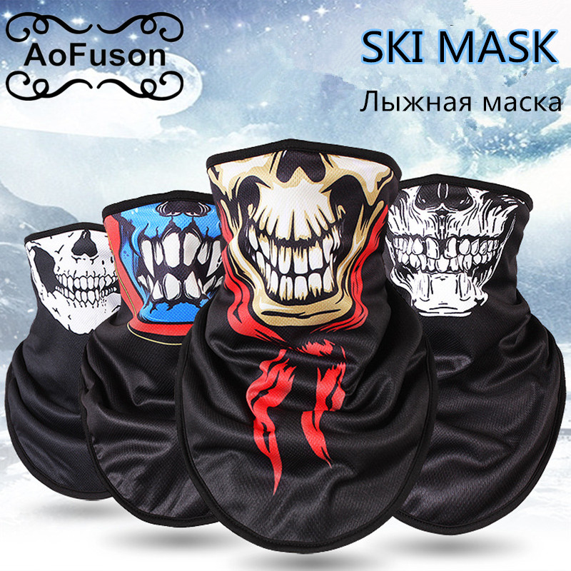 Winter Fleece Ski Scarf . Cycling Snowboard Equipment Bandana Headwear Mask Neck Triangle Thicken Warm Women Men Skull Bibs