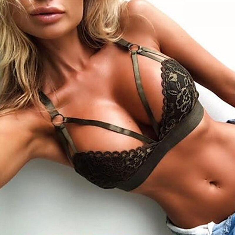 Womens Sexy Floral Lace Triangle Bralette Bra Lingerie Deep V Sling Hollow Bra Underwear Plus Size
