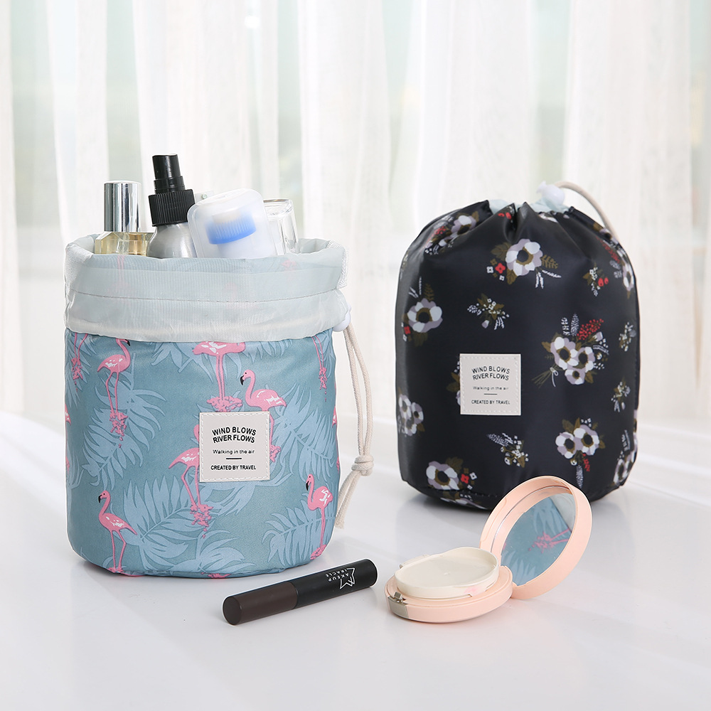 New Women Drawstring Round Cosmetic Bag Fashion Travel Makeup Bag Organizer Make Up Case Storage Pouch Toiletry Beauty Kit