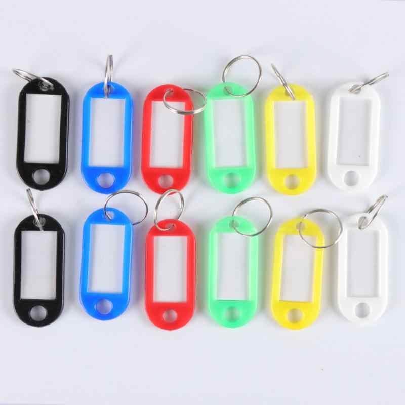 1pcs Creative צבע סיווג כרטיס מפתח תגיות עם טבעת פלסטיק לשמירת שם תג מזהה תווית נסיעות תיק תג כתובת תווית
