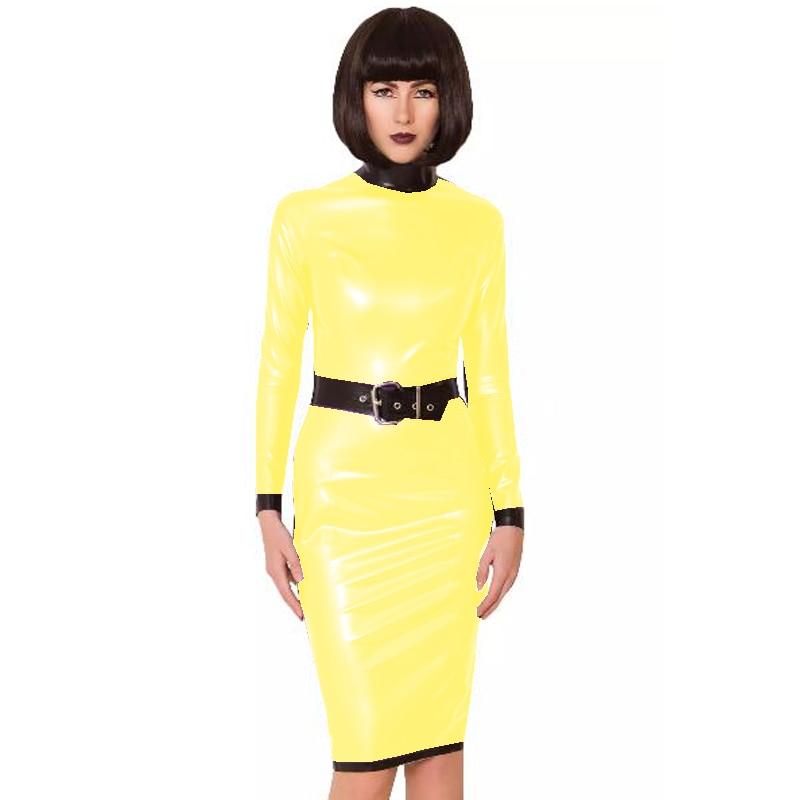24 Colors Back Zipper Long Sleeve Knee Length Dress Lady Slim Vestido Fashion Patchwork Color Midi Dress Sexy Stage PVC Clubwear 20