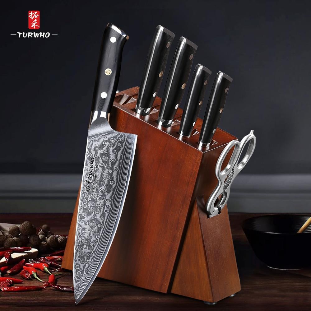 Лучший набор кухонных ножей TURWHO из 7 предметов с превосходным древесиной акации, набор ножей из суперострых японских ножей из дамасской ста...