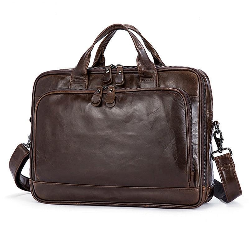 Men's Briefcases Office Cowhide Large Capacity Handbag Business Soft Genuine Leather Laptop Men Briefcase Male Messenger Bags
