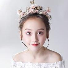 Модная корейская детская повязка с цветами на голову Золотая