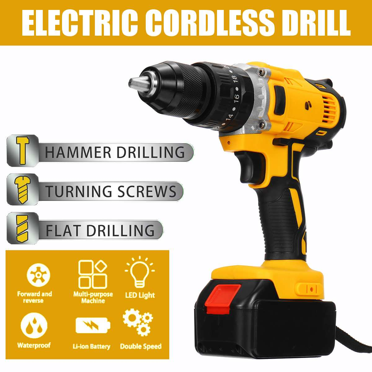 55V Max Home Electric Screwdriver Cordless Drill Lithium Battery Wireless Rechargeable Hand Drills DIY Electric Drill Power Tool