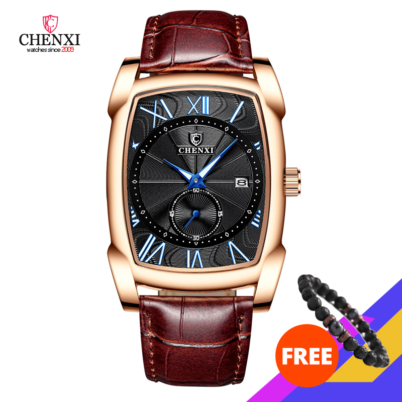 CHENXI 2020 New Watch Luxury Retro Men Watches Business Waterproof Quartz Wristwatch Male Calendar Roman Numerals Stop Watch