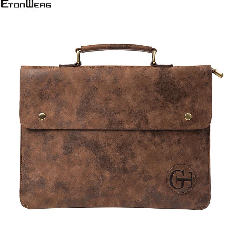 Men's Designer Briefcase Bag Brand Leather Tote Male Business Office Handbag Women Vintage File Hand Bags Solid Brown 2019