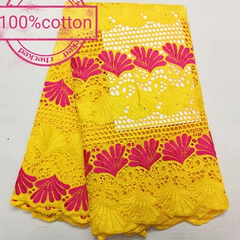 newest style 5yards  eyelet cotton lace fabric  african swiss voile lace fabric fashion style  for dress A32NO192