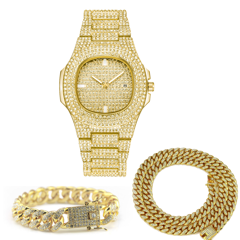 Hip Hop Jewelry Sets For Unisex Iced Out Diamond Watch For Women Fashion Men's Quartz Watches Gold Clock Male Bracelet Necklace