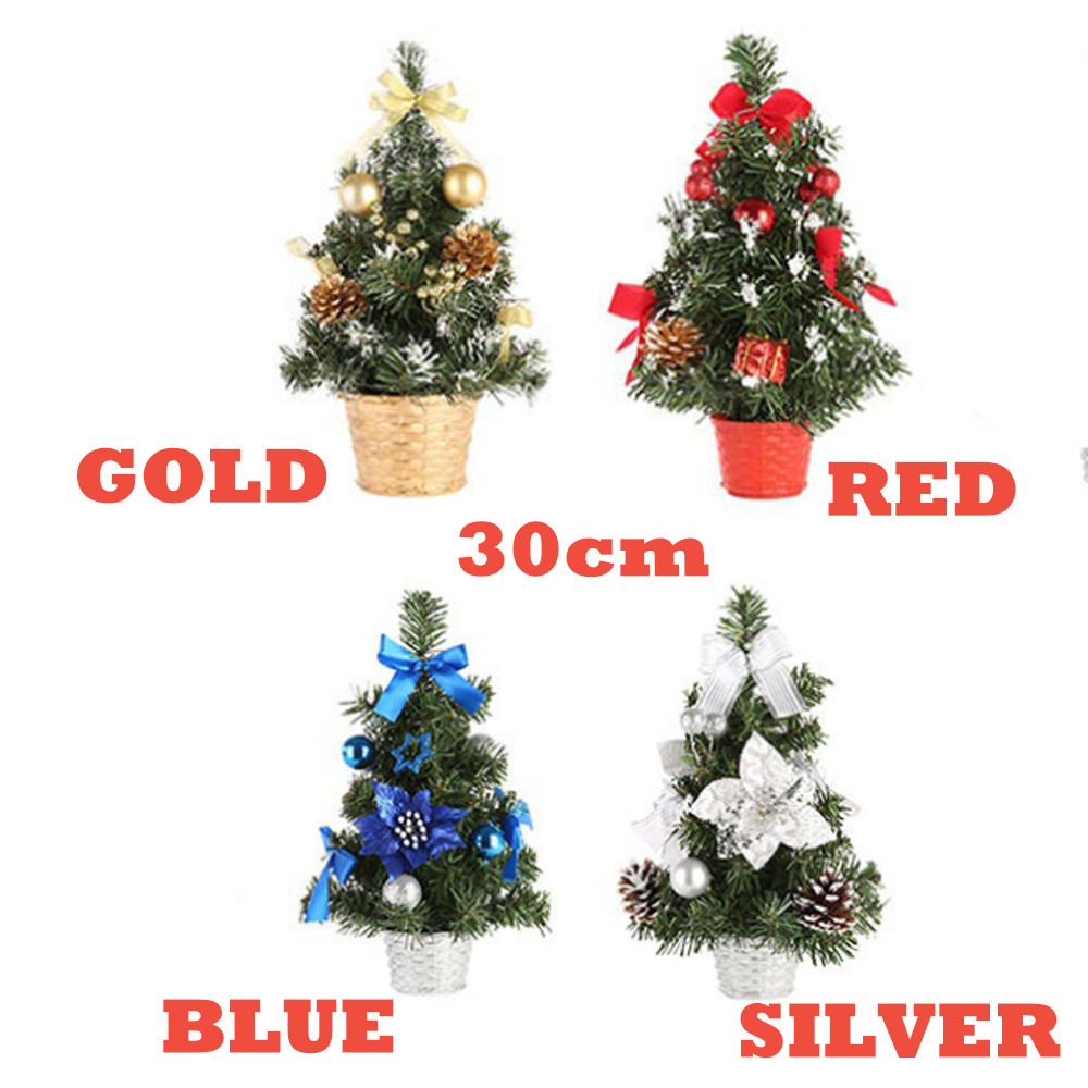 US $4 11 OFF Artificial Tabletop Mini Christmas Tree Decorations Small Christmas Tree Gold Silver Blue Red Mini Tree 30cm Festival