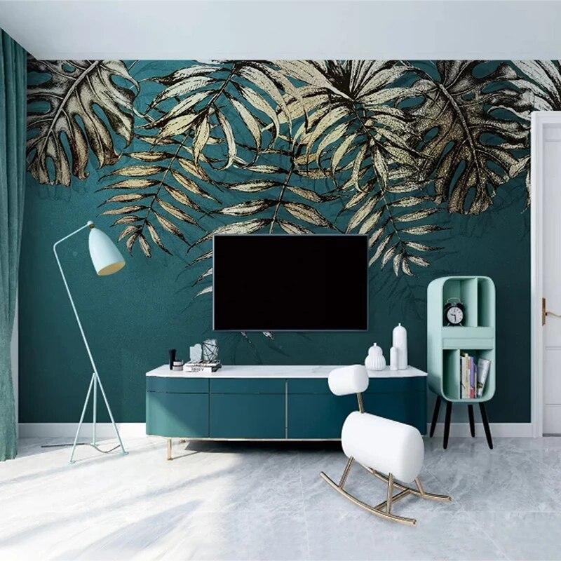 Самоклеящиеся обои на заказ, современные настенные 3D обои с листьями в скандинавском стиле, для гостиной, ТВ, дивана, спальни, Роскошный дома...