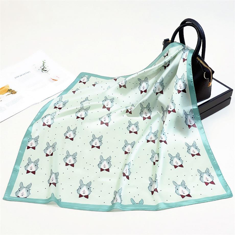 2020 New Design Cartoon Rabbit Brand Square Scarf Women Kerchief Fashion Neckerchief Turban Silk Scarf Winter Scarves For Ladies