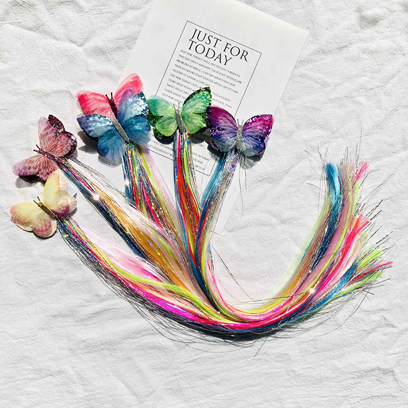 Hair Accessories Colorful Butterfly Hair Clip For Girls Long Pigtails Glitter Hair Bows Fake Wig Hairpins Fashion Kids Headwear