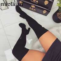 2019 New Womens Suede Leather Thigh High Boots Woman Long Over The Knee Boots Ladies Platform Fur Boot High Heel Shoes