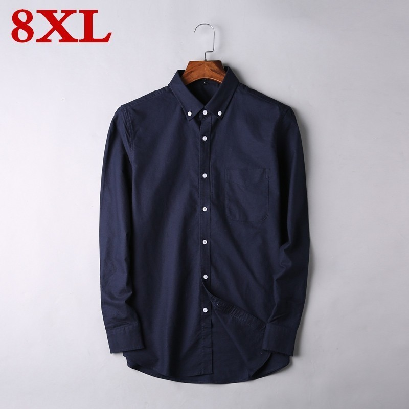 8XL Plus Size Men Casual Long  Sleeved Solid Shirt Slim Fit Male Social Business Dress Shirt Brand Men Clothing Soft Comfortable