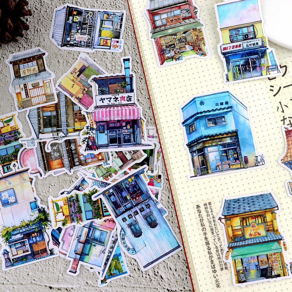 28pcs Kawaii Japanese Draw Shop And Building Sticker Notebook Decoration Dry Glue Pegatinas/hand Book Diary Stationery Stickers