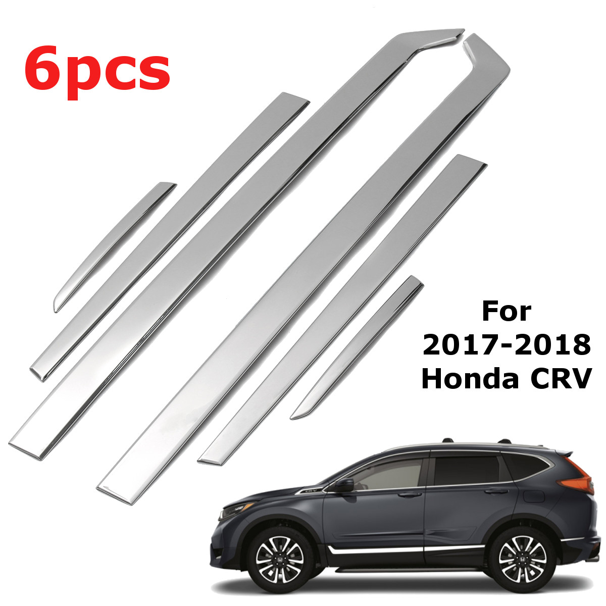 6PCS Chrome Stainless Steel Car Body Side Door Moulding Cover Trim For Honda CRV 2017 2018 Car Exterior Accessories Styling