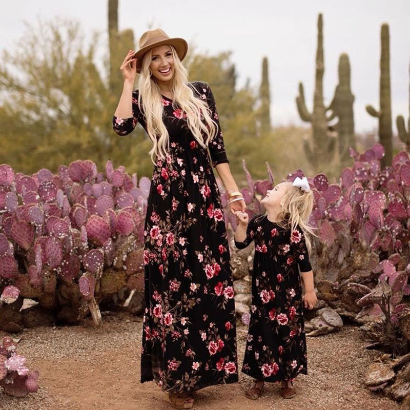 new-family-look-women-girl-dresses-long-sleeve-floral-dress-mother-daughter-clothes-mom-and-me-dress-family-matching-clothes