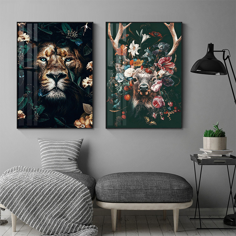 Abstract Flowers Animal Canvas Painting Prints Lion Tiger Deer Wall Decorative Posters Nordic Living Room Art Picture Home Decor