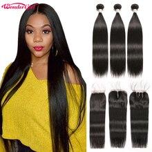 Braziliaanse Steil Haar Bundels Met Sluiting Wonder girl Remy Human Hair Bundels Met Sluiting Kan Worden Aangepast in een Pruik