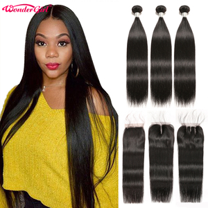 Image 1 - Brazilian Straight Hair Bundles With Closure Wonder girl Remy Human Hair Bundles With Closure Can Be Customized into a Wig