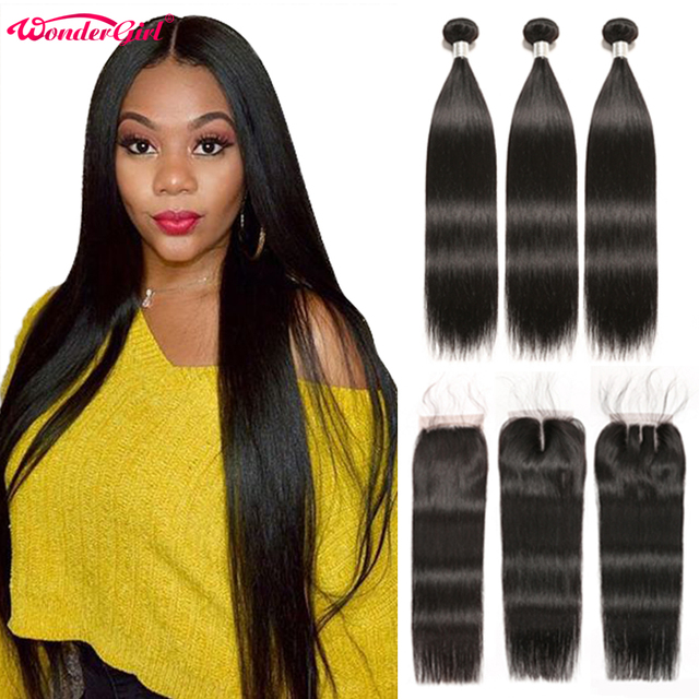 $ US $52.00 Brazilian Straight Hair Bundles With Closure Wonder girl Remy Human Hair Bundles With Closure Can Be Customized into a Wig