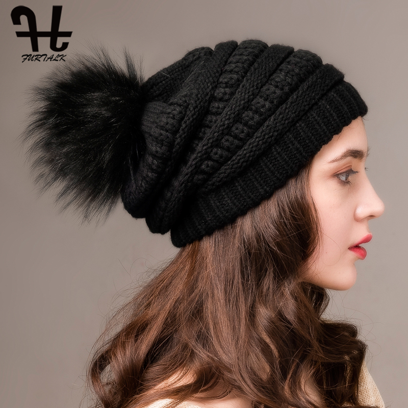 FURTALK Women Winter Hat Knitted Slouchy Beanie Hat Faux Fur Pompom Hats For Women Winter Warm Skull Ski Cap For Ladies 2019