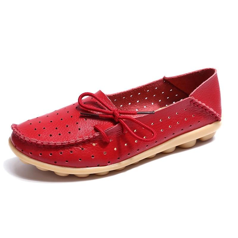 Fashion Women Flats Ballet Women Shoes Genuine Leather Breathable Casual Shoes Women Moccasin Soft Shoes Mother Lofter Plus Size