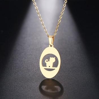 DOTIFI, ожерелье из нержавеющей стали для женщин, мужчин, мышления, кошки, кулон, колье, ожерелье, Помолвочное ювелирное изделие