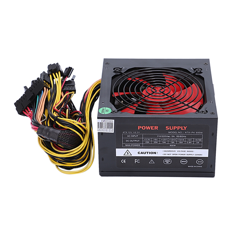 170-260V Max 600W Power Supply Psu Pfc Red 12Cm Silent Fan 24Pin 12V Pc Computer Sata Gaming Pc Power Supply For Intel Amd