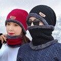 Heißer Verkauf 2 stücke Ski Cap Und Schal Kalt Warm Leder Winter Hut Für Frauen Männer Gestrickte Hut Haube Warme kappe Beanies
