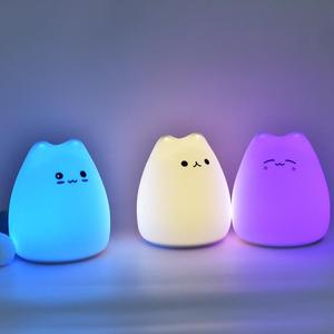 Cartoon Cat Silicone Lamp Cute Small Night Light LED Color Changing Light Colorful Lamp Portable Bedroom Lamp Home Lighting