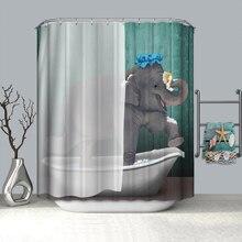 Schöne Elefanten Dinosaurier Pferd Katze Gorilla Bad Bad Dusche Vorhang Tiger Kopf Schöne Blumen Bad Partition Vorhang