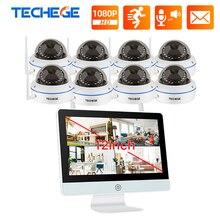 Techege 8CH 1080P bezprzewodowy System CCTV 12 Cal LCD NVR odporność na akty wandalizmu kamera IP wewnętrzna sieć WIFI kamera ochrony zestaw do organizacji P2P