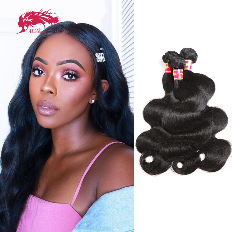 Body Wave Brazilian Unprocessed Raw Virgin Human Hair Weaves Bundles Ali Queen Hair Natural Black Color 6