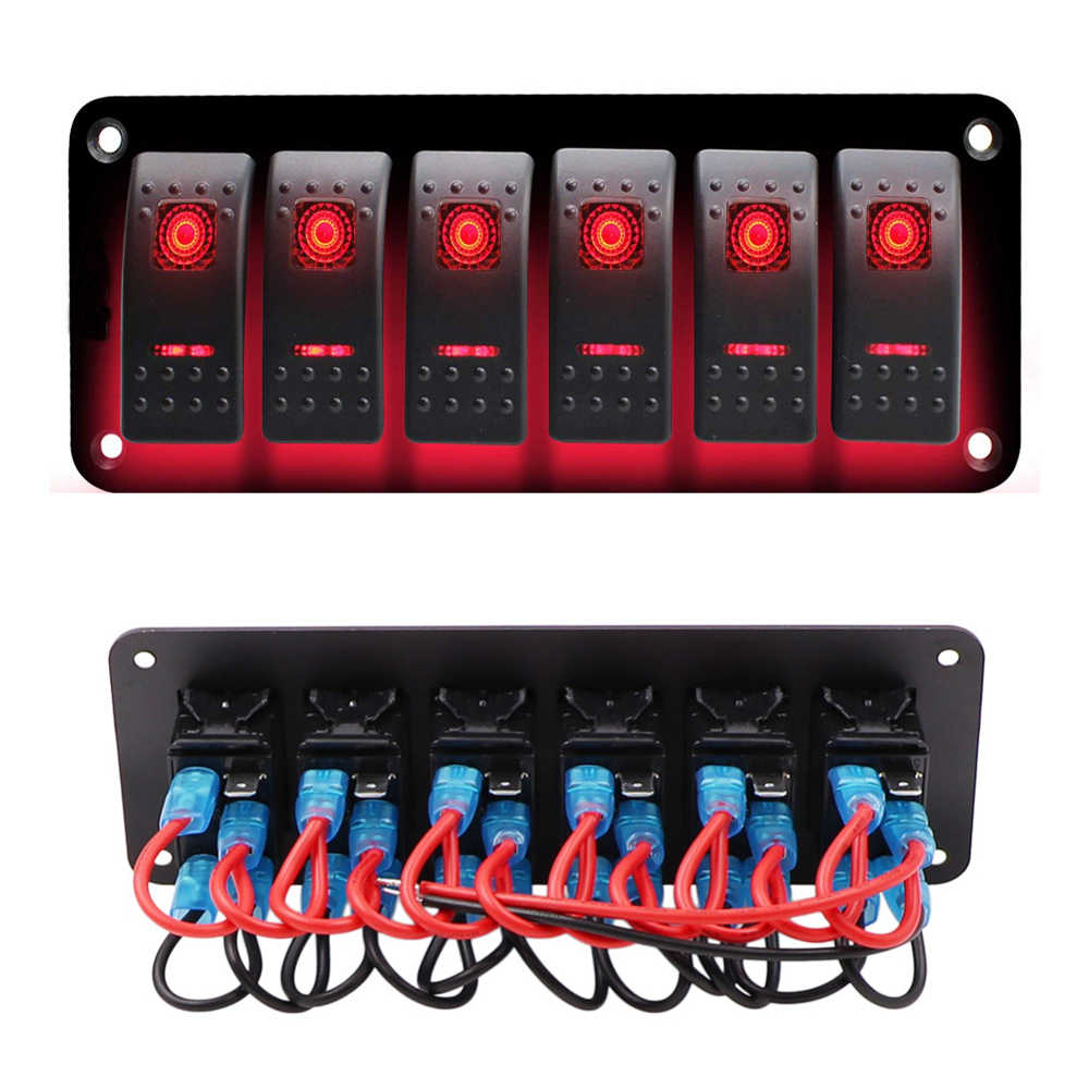 Boat Switch Panel Toggle Switch Universal Cars Truck LED Circuit Breaker RV Red