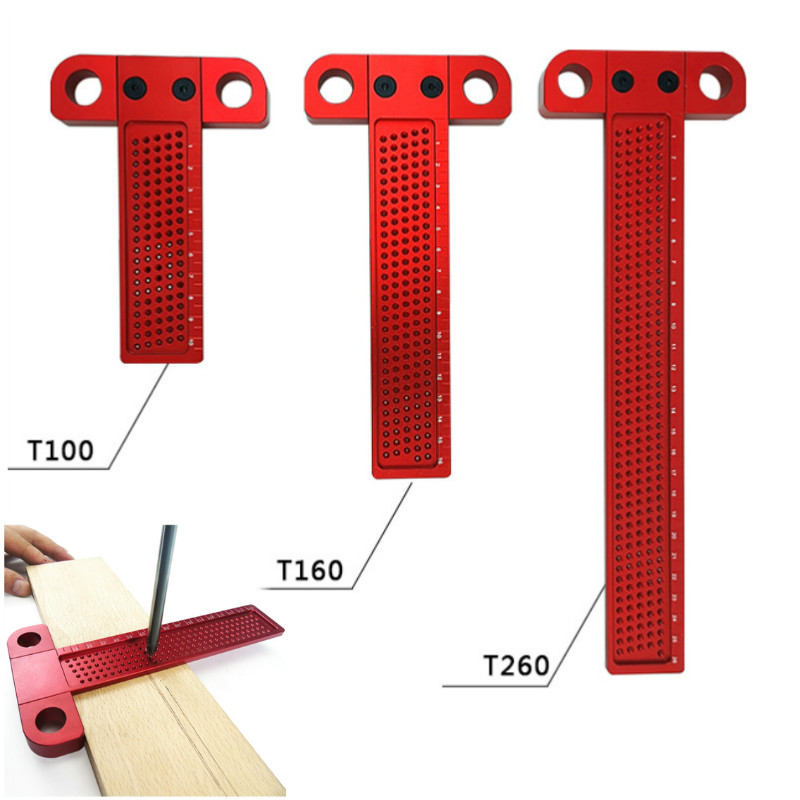 Woodworking Scribe 260mm T-type Ruler Hole Scribing Gauge Aluminum Crossed Feet Woodworking Crossed-out Tool Measuring Tool